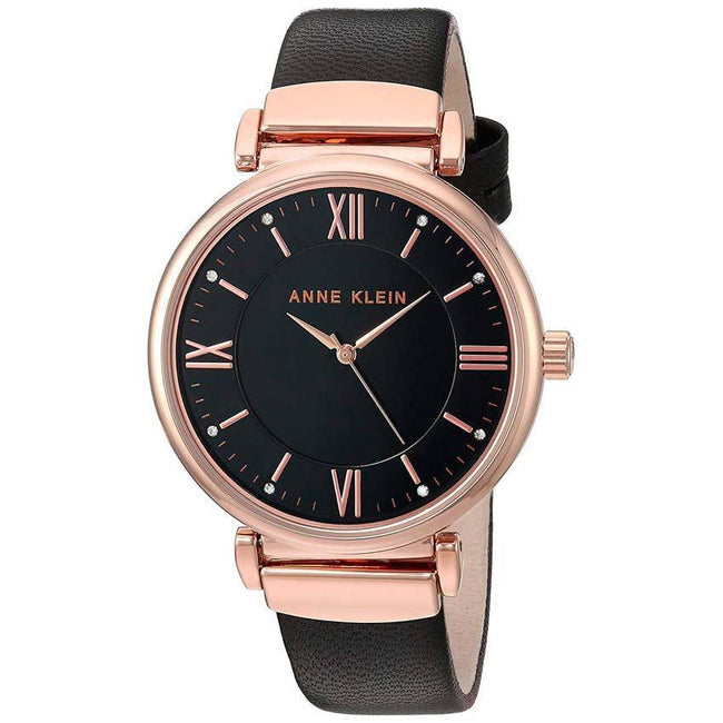 Anne Klein AK/2666RGBK Women's Swarovski Crystal Accented Rose Gold-Tone And Black Leather Strap Watch