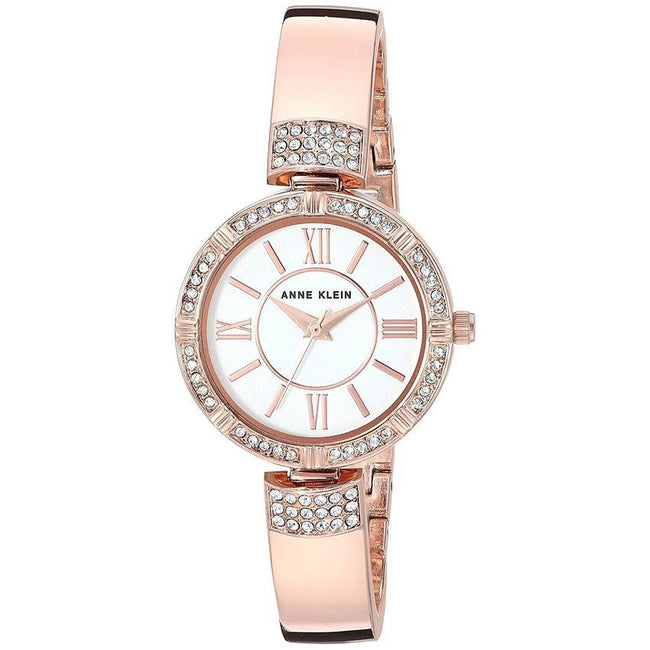 Anne Klein AK/3294RGST Women's Swarovski Crystal Accented Rose Gold-Tone Set Small Watch