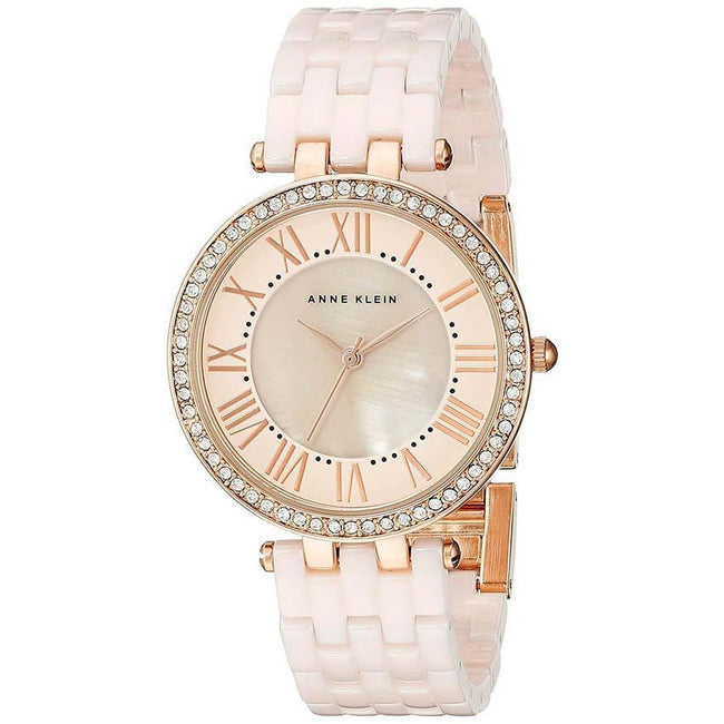 Anne Klein AK/2130RGLP Women's Swarovski Crystal-Accented Rose Gold-Tone Light Pink Ceramic Bracelet Watch