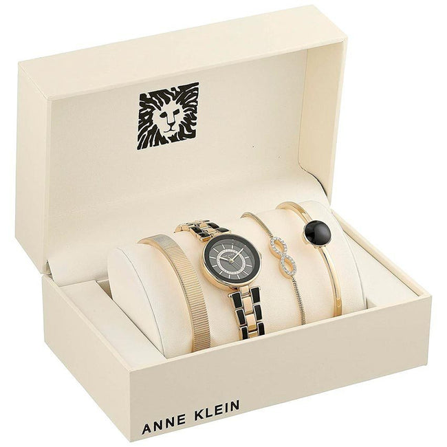Anne Klein AK/3286BKST Women's Swarovski Crystal Accented Gold-Tone And Black Watch And Bracelet Set