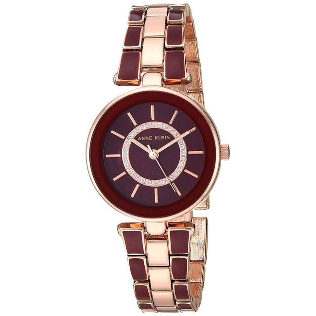 Anne Klein AK/3286BYST Women's Swarovski Crystal Accented Rose Gold-Tone Burgundy Watch Bracelet Set