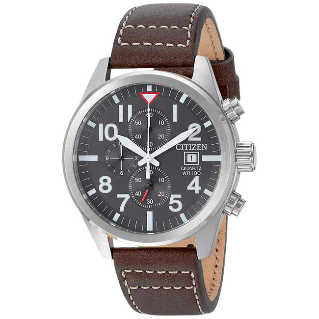 Citizen AN3620-01H Men's Chronograph Black Dial Brown Leather Watch