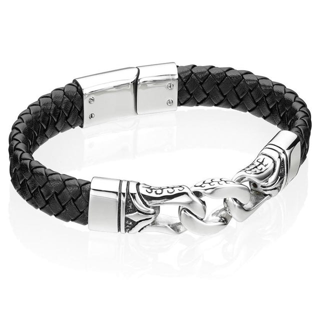 Fred Bennett B3897 Men's Stainless Steel Black Enamel Leather 23cm Bracelet