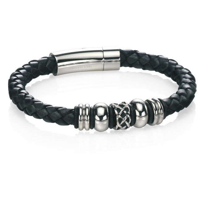 Fred Bennett B4211 Men's Stainless Steel Leather 9 Inch Bracelet