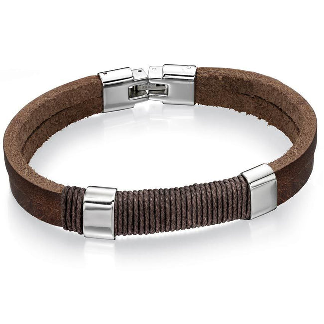 Fred Bennett B4558 Men's Steel Brown Leather and Cotton Wrapped Cord Bracelet