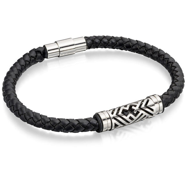 Fred Bennett B4725 Men's Carved Stainless Steel & Black Leather Bracelet