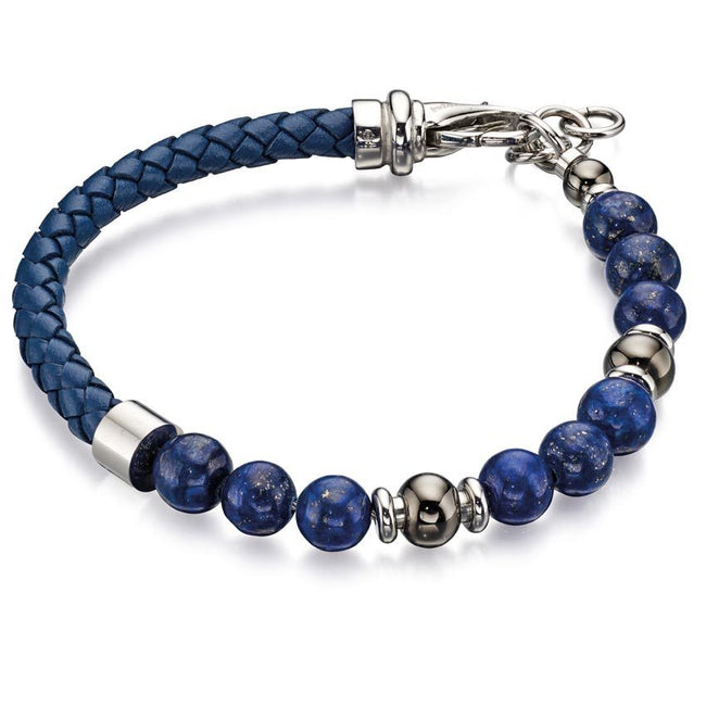 Fred Bennett B4871 Men's Stainless Steel & Blue Leather Lapis Beads Bracelet