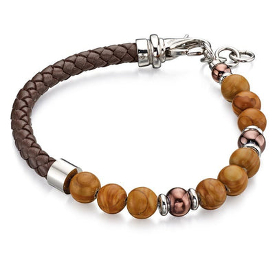 Fred Bennett B4872 Men's Silver Plated & Brown Bead Bracelet