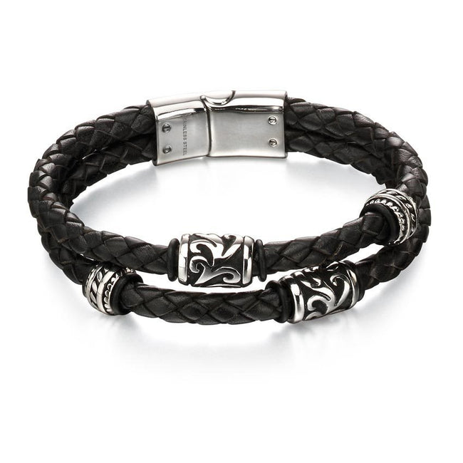 Fred Bennett B4980 Oxidized Stainless Steel & Black Leather Tribal Bead Bracelet
