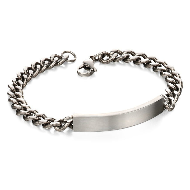 Fred Bennett B4987 Men's Stainless Steel Brushed ID Bracelet