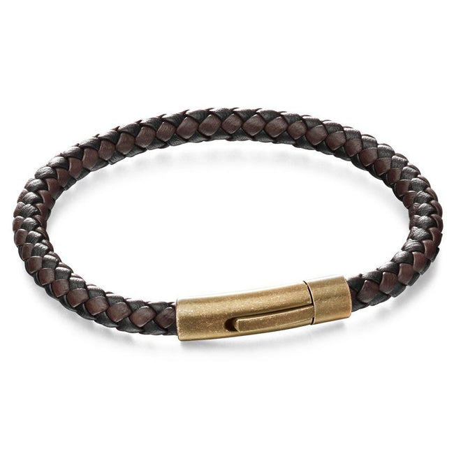 Fred Bennett B5061 Men's Black & Brown Leather Woven Bracelet