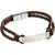 Fred Bennett B5122 Men's Stainless Steel Brown Leather Rope ID Bracelet