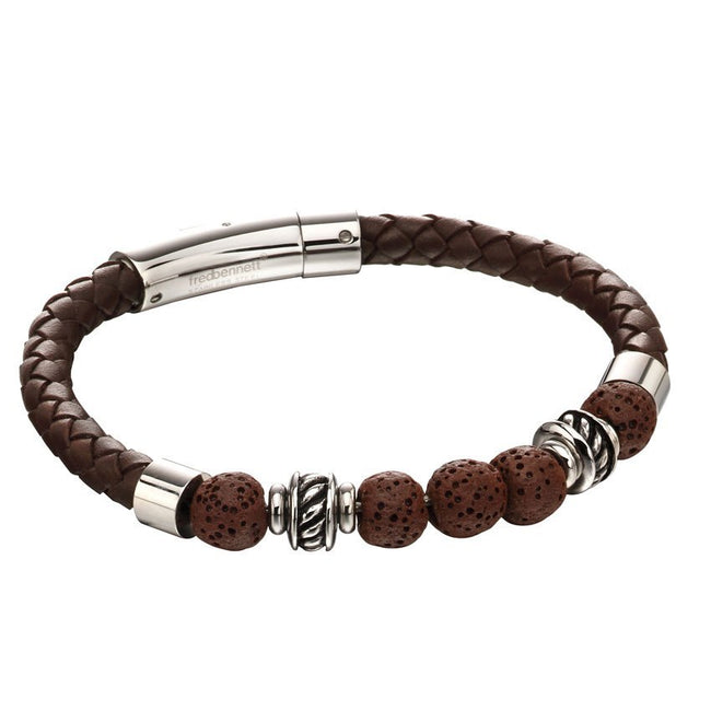 Fred Bennett B5141 Men's Stainless Steel Brown Lava Bead Plaited Brown Leather Bracelet
