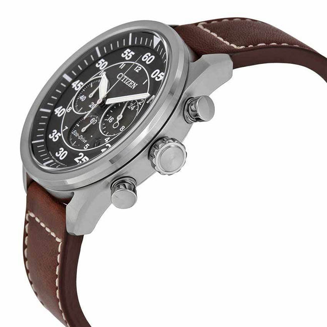 bd7e575b1eb Citizen CA4210-24E Men s Eco-Drive Stainless Steel Chronograph Brown  Leather Watch