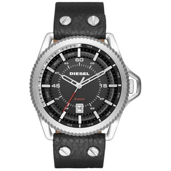 Diesel DZ1790 Men's Rollcage Stainless Steel Black Leather Watch