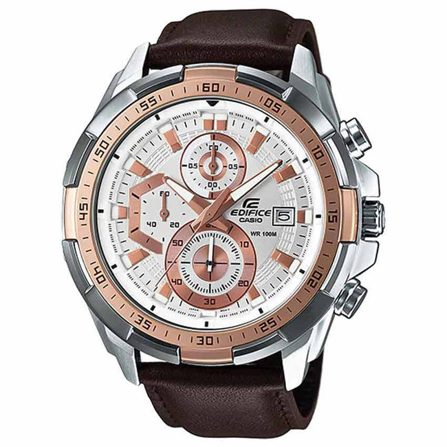 Casio Gents EFR-539L-7AVUDF Edifice Chronograph Rose Gold Bezel Brown Leather Watch