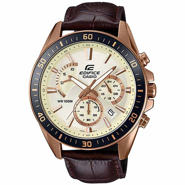 Casio Gents EFR-552GL-7AVUDF Chronograph Rose Gold Case Leather Watch