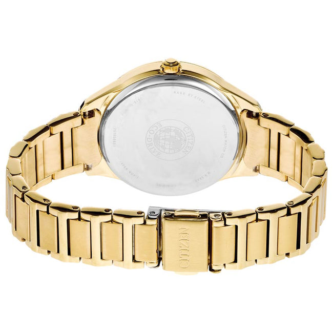 Citizen FE6102-53A Women's Chandler Crystal Silver Dial Gold Watch