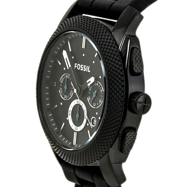 Fossil FS4487 Men's Machine Chronograph Black SS Silicone Strap Watch