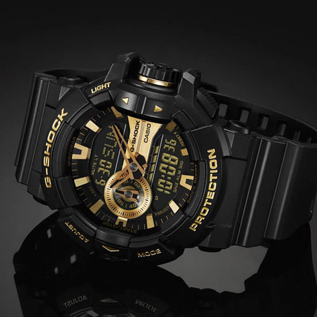 CASIO GENTS GA-400GB-1A9DR G-SHOCK MAGNETIC RESISTANT GOLD DIAL BLACK POLYURETHANE LARGE WATCH