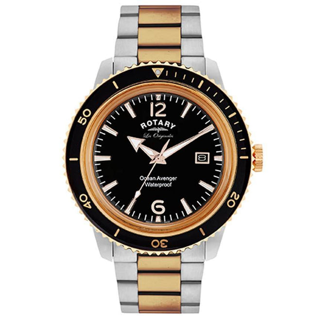 Rotary GB90096/04 Men's Ocean Avenger Swiss Made Rose Gold Two Tone Bracelet Medium Size Watch
