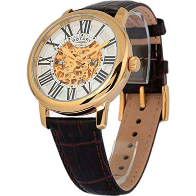 Rotary GLE000013/21S Men's Skeleton Automatic Brown Leather Watch