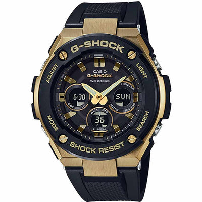 Casio Gent's GST-S300G-1A9DR G-Steel Gold Ion Plated Case Black Resin Watch