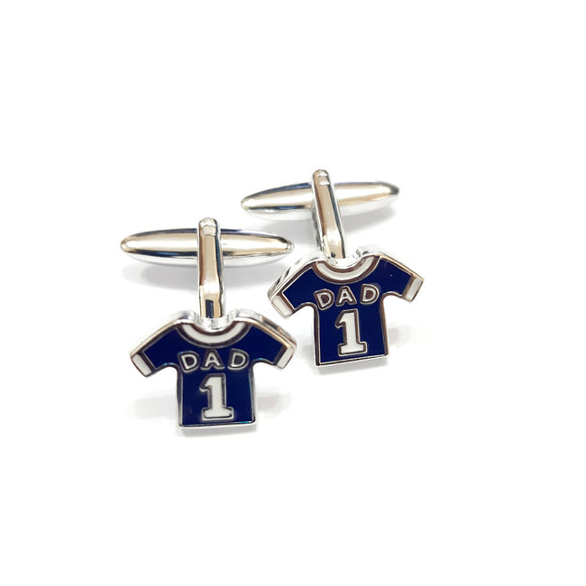 Harvey Makin HM1884 Blue Shirt 'Dad' Pair Cufflinks