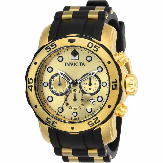 Invicta 17885 Men's Pro Diver Quartz Multifunction Gold Dial Polyurethane Large Watch