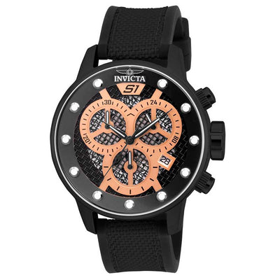 Invicta  19625 Men's S1 Rally Quartz Multifunction Black, Rose Gold Dial Large Watch