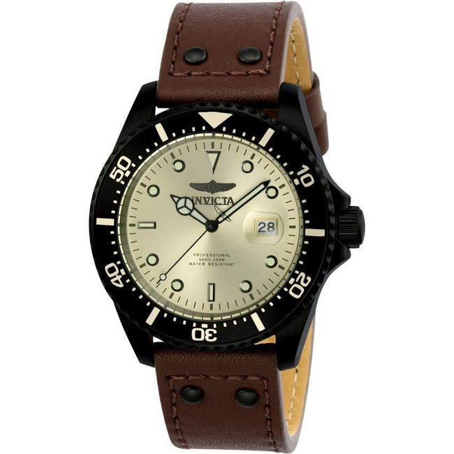 Invicta 23390 Men's Pro Diver Quartz 3 Hand Ivory Dial Brown Leather Watch
