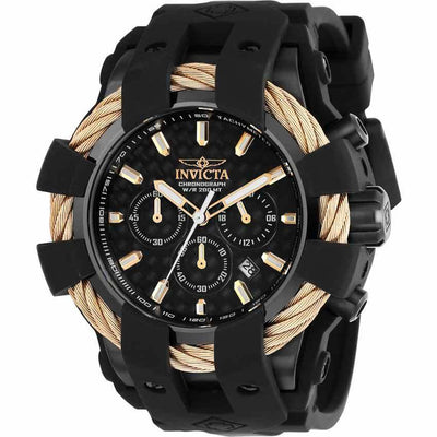 Invicta 23867 Men's Bolt Quartz Chronograph Black Dial Silicone Watch