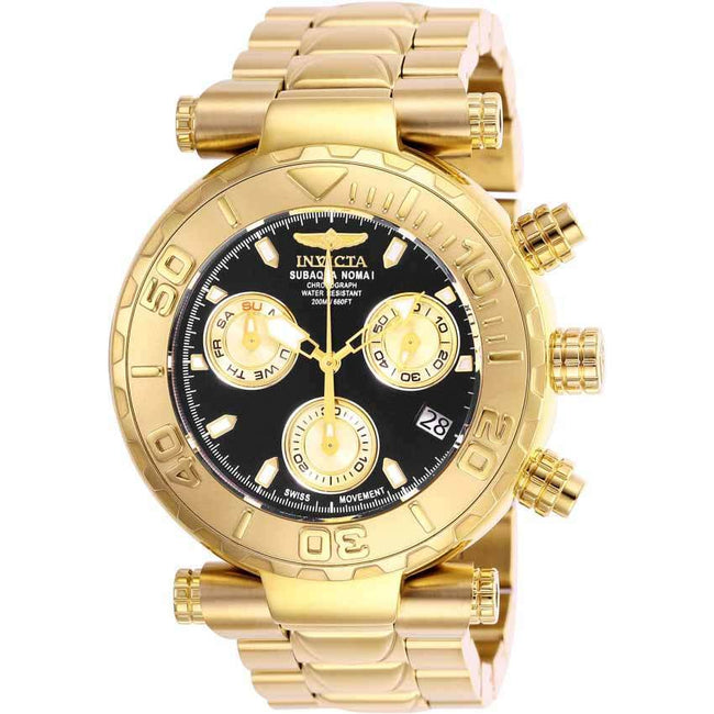 Invicta 25800 Men S Subaqua Quartz Chronograph Black Dial Gold Watch