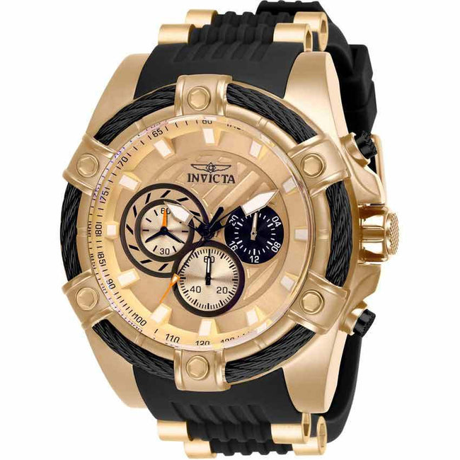 Invicta 28014 Men's Bolt Quartz Chronograph Rose Gold, Black Dial XL Watch