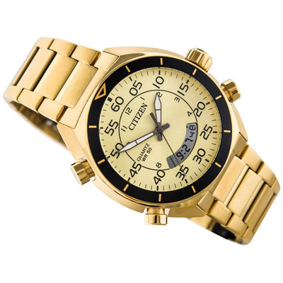 Citizen JM5472-52P Men's Digital Analog Chronograph Champagne Dial Watch