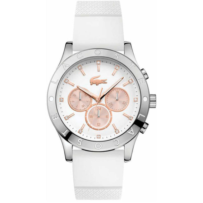 Lacoste 2000940 Women's Charlotte Stainless Steel White Silicone Large Watch
