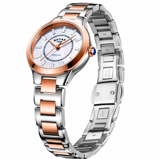 Rotary LB05377/41 Women's Kensington Two Tone White MOP Dial Medium Watch