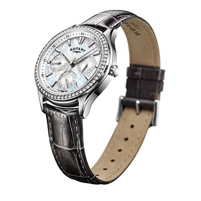 Rotary LS05056/07 Women's Hampstead Grey Leather Strap Mother Of Pearl Dial Watch
