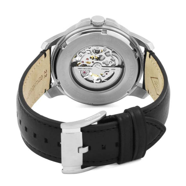 Fossil ME3101 Men's Grant Automatic Skeleton Dial Black Leather Watch