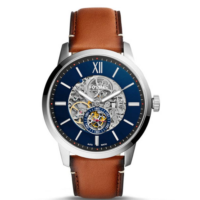 Fossil ME3154 Men's Townsman Automatic Skeleton Dial Leather Watch