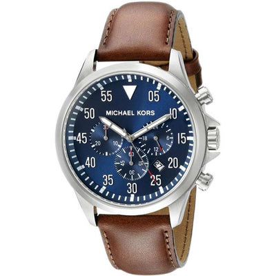 Michael Kors MK8362 Gage Chronograph Blue Dial Men's Brown Leather Watch