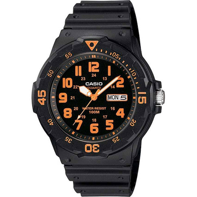 Casio MRW200H-4BV Unisex Black/Orange Face Black Band Dive Medium Size Watch