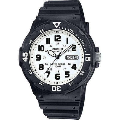 Casio MRW200H-7BV Men's Classic White Dial / Black Resin Band Dive Medium Size Watch