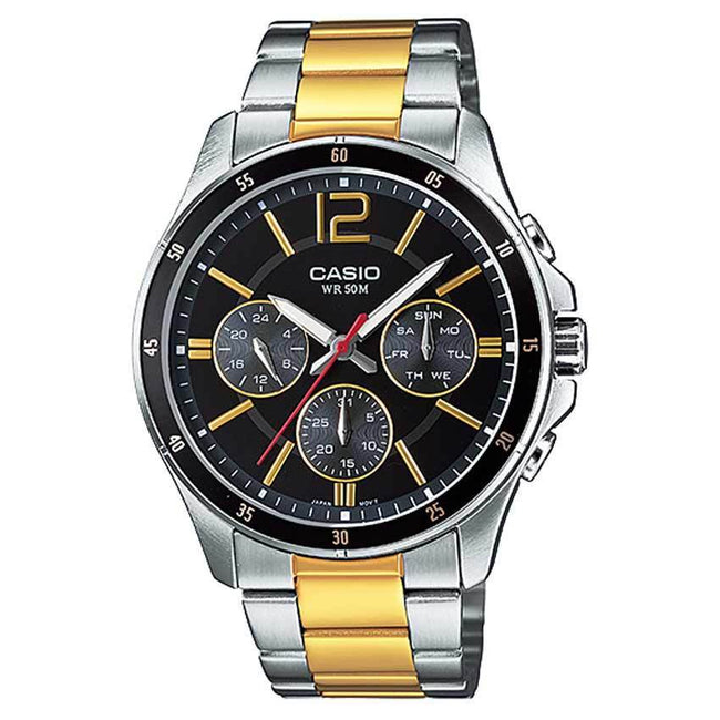 CASIO GENTS MTP-1374SG-1AVDF  METAL BASIC ENTICER BLACK DIAL MULTIFUNCTION WATCH