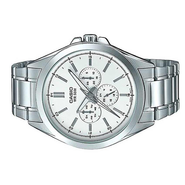 Casio Gent's MTP-SW300D-7AVDF Stainless Steel Multifunction White Dial Watch