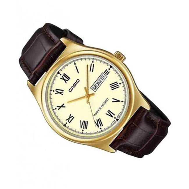 CASIO GENTS MTP-V006GL-9BUDF METAL BASIC GOLD BEZEL DRESS  SMALL SIZE WATCH