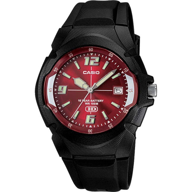 CASIO MW600F-4AV Men's Black Sport with Red Dial Small Size Watch
