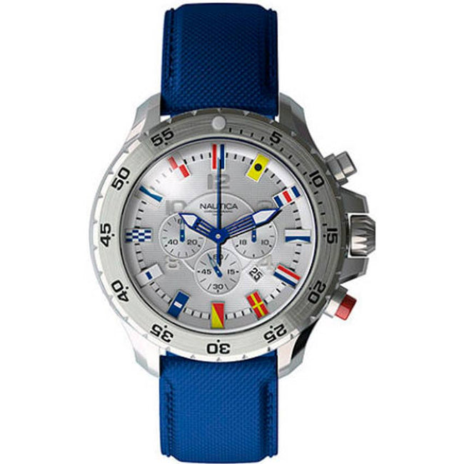 Nautica  N16530G Men's NST Chronograph Blue Resin-coated leather Watch