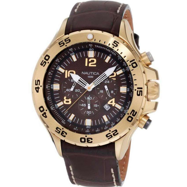 Nautica N18522G Men's Chronograph Brown Leather Strap Watch