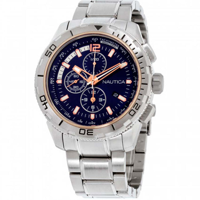Nautica NAD24500G Men's NST 101 Navy Dial Stainless Steel Bracelet Large Watch